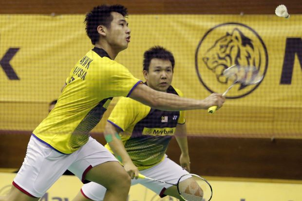 Hoon Thien How-Tan Wee Kiong in a file photo. They lost to Japan's Takeshi Kamura-Keigo Sonoda 19-21, 14-21 in the German Open semi-finals.