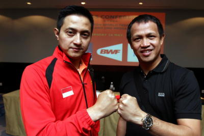 Dynamic duo: Ricky Subagja (left) and Rexy Mainaky posing for the camera during the BWF press conference yesterday.