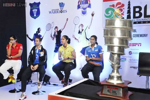Jwala Gutta of Delhi Smashers, Denmark's Mathias Boe of Awadhe Warriors, Saina Nehwal of Hyderabad Hotshots and PV Sindhu of Awadhe Warriors at the unveiling of the Indian Badminton League trophy.
