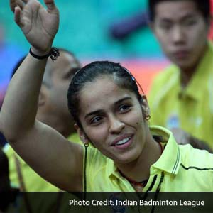 Saina Nehwal after her women's singles win.