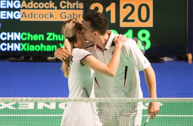 Gabby and Chris Adcocks at Bitburger Open semi-finals