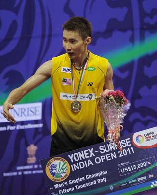 Lee Chong Wei beat China's Wang Zhengming 21-10, 21-18 in their Group A match of the Super Series Finals on Dec 11, 2013. During the match, the instant review system was used for the first time when Chong Wei challenged the linesman's call.