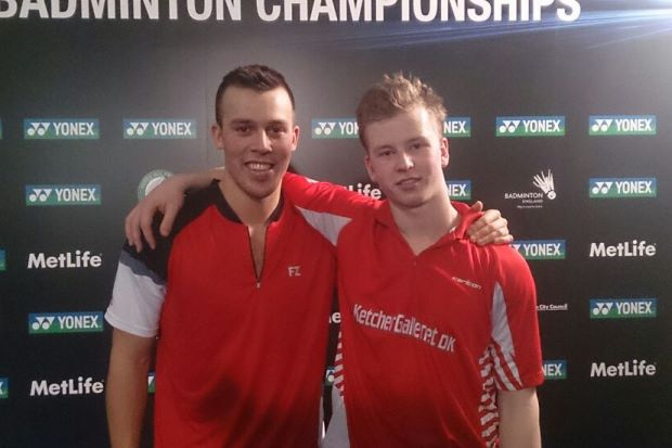 Denmark's Kim Astrup Sorensen (right)-Anders Skaarup Rasmussen pose for a picture after beating All-England defending champions Liu Xiaolong-Qiu Zihan of China in the doubles event on Thursday.