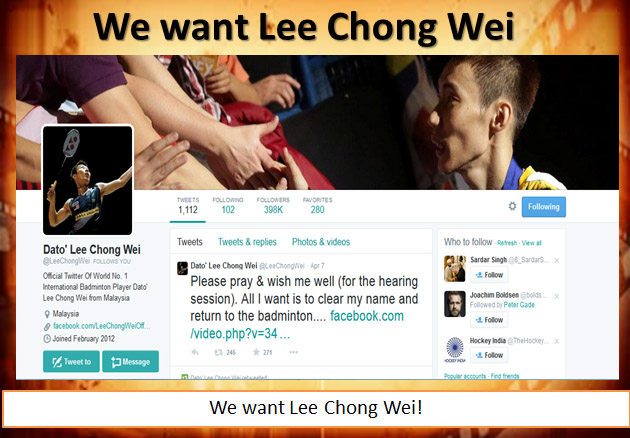 We want Lee Chong Wei! (video)